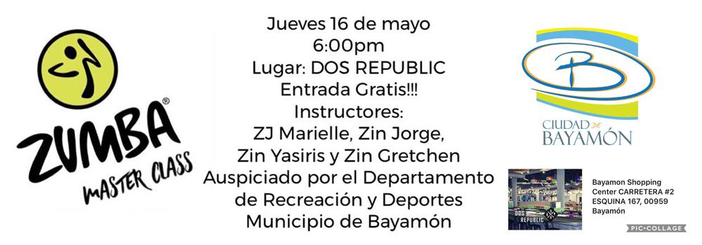 Zumba Master Class el 16 de mayo de 2019 a las 6pm en Dos Republic