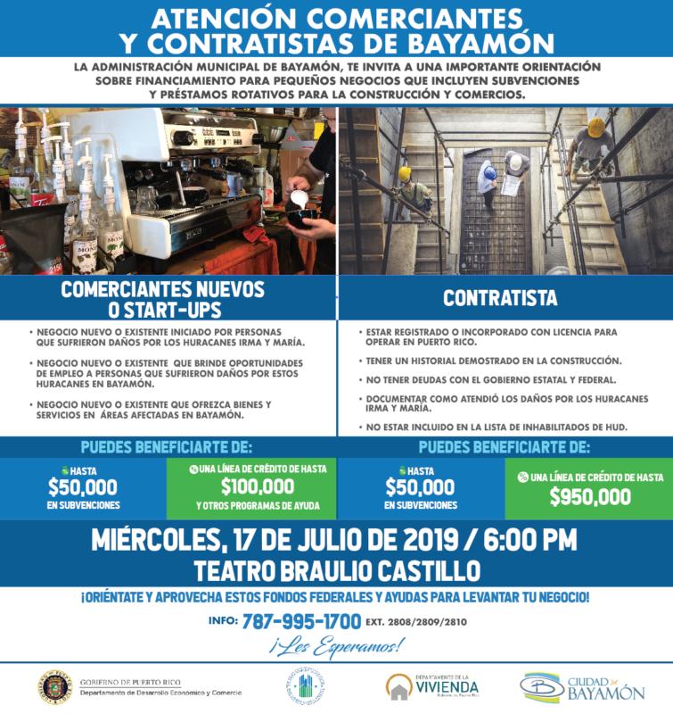Atención Comerciantes y Contratistas de Bayamón