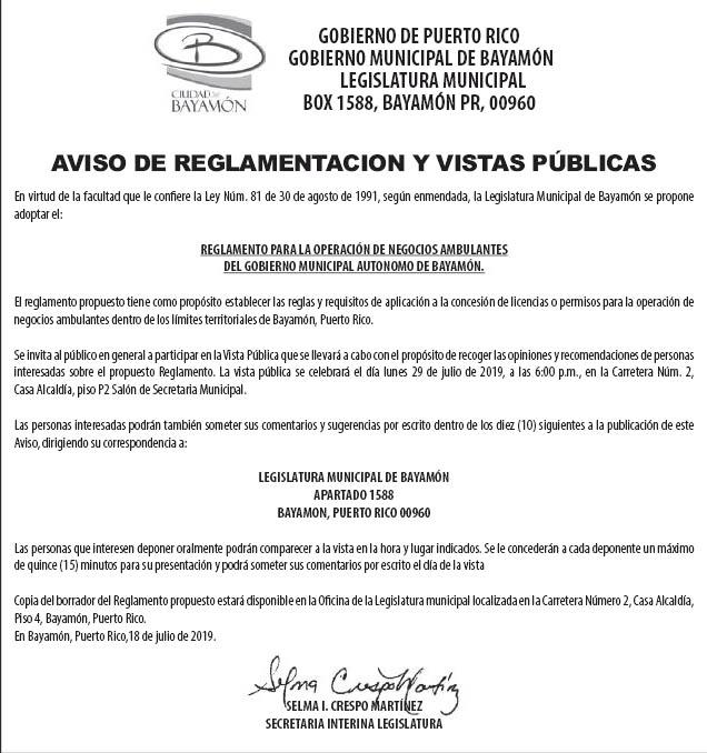 Avisos Públicos - Ciudad de Bayamón