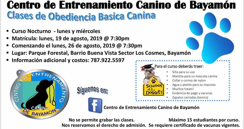 Matricula de clases de obediencia canina el 19 de agosto de 2019 a las 7:30. Comienzo de clases el 26 de agosto de 2019.