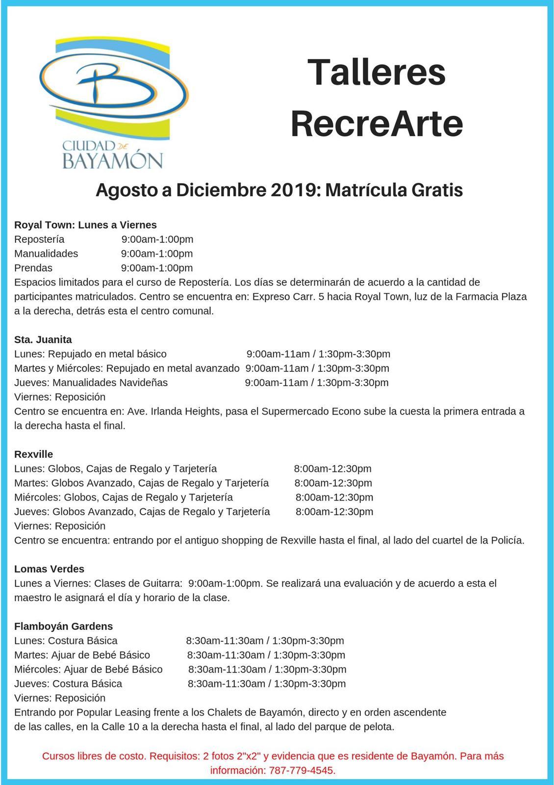 Matrícula Recrearte - Agosto 2019