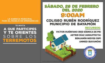 Orientación sobre los Terremotos el 29 de febrero de 2020 a las 9am en el Coliseo Rubén Rodríguez