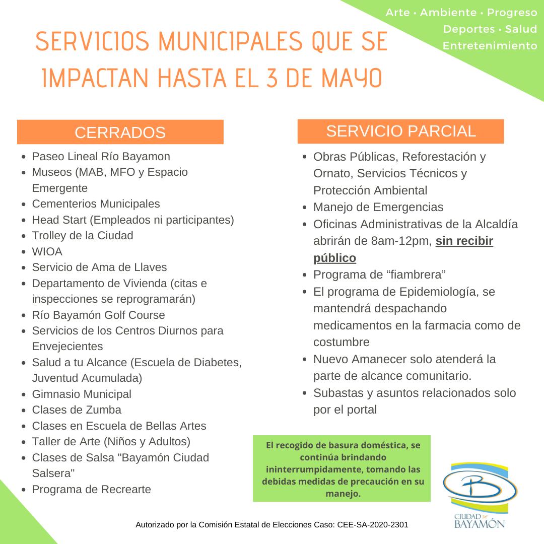 Servicios Municiaples que se Impactan hasta el 3 de Mayo