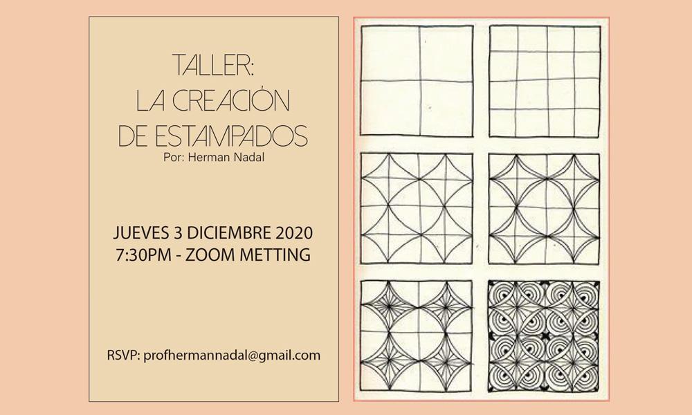 Taller La Creacion de Estampados por Zoom el 3 de dicembre 2020