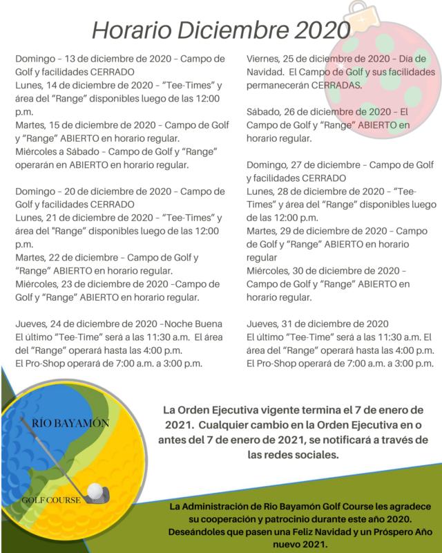 Horario Diciembre 2020 RBGC