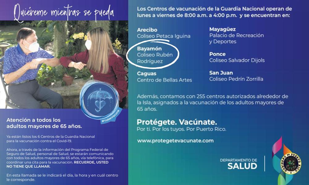 Vacunación para65 o más en el Coliseo Rubén Rodríguez
