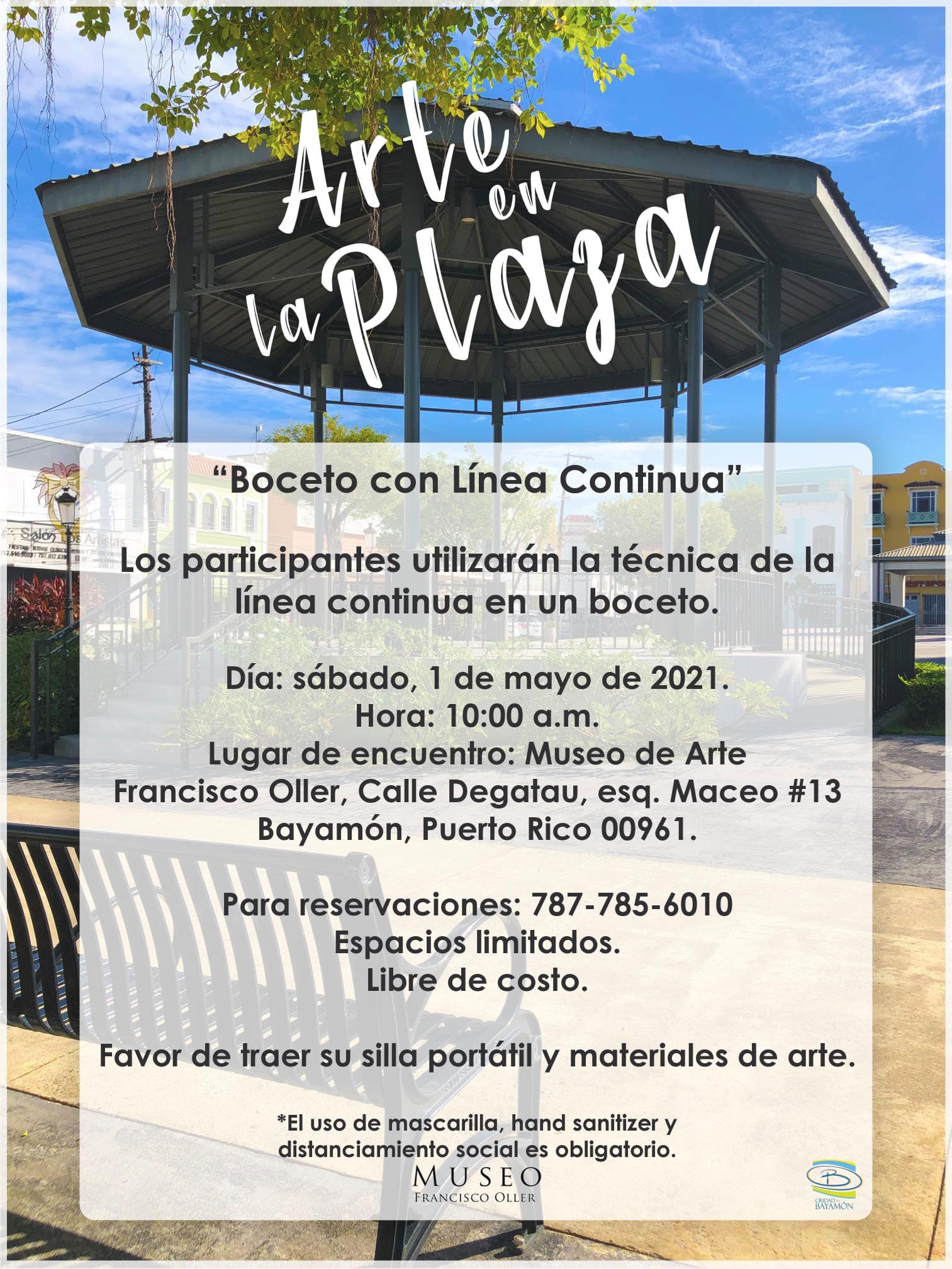 Arte en la Plaza el 1 de mayo de 2021 a las 10am en la Plaza de Recreo