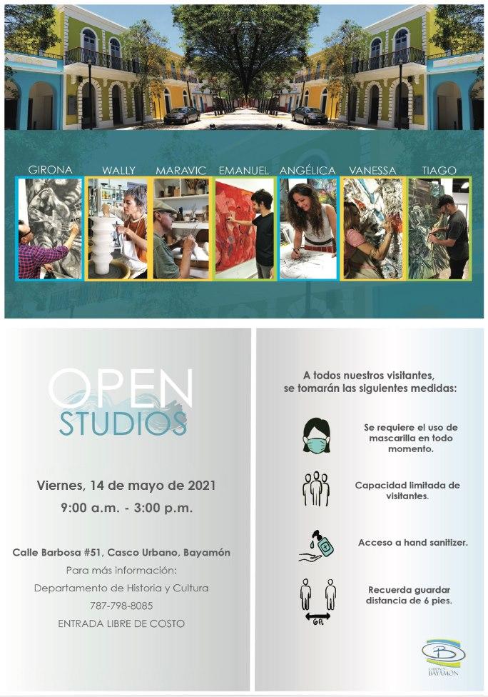 Open Studios el 14 de mayo de 2021 desde las 9am en la Calle Barbosa #51