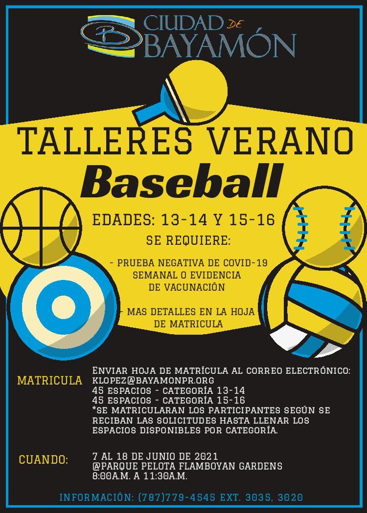 Talleres de Verano 2021: Baseball