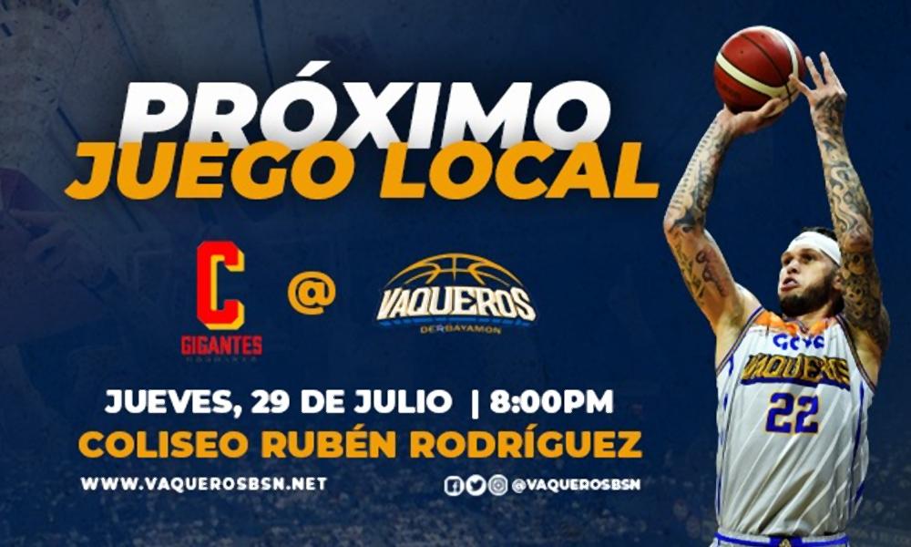 Juego de Vaqueros - 29 de julio en el Coliseo Ruben Rodriguez