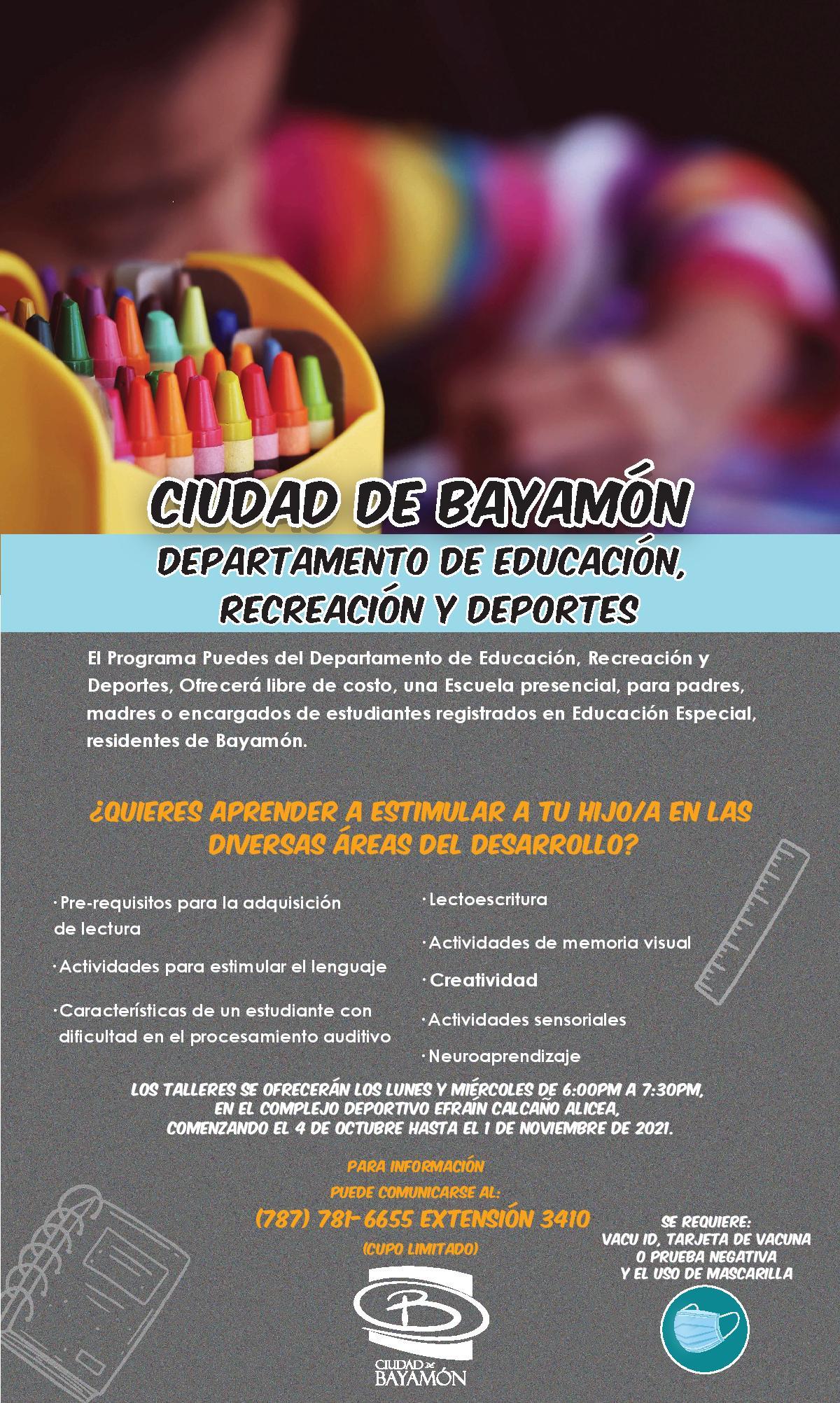 Talleres Gratis para Padres, Madres o Encargados de Estudiantes Registrados en Educación Especial